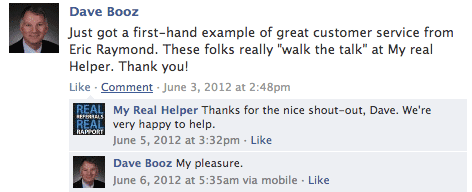 A little Facebook love for My Real Helper's member services.